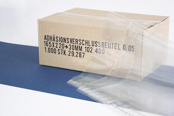 Adhäsionsbeutel - selbstklebende Klappe - 50 my Folienstärke