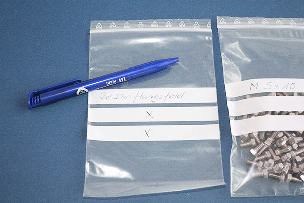 Druckverschlussbeutel - 3 Beschriftungsfelder - 50 my Folienstärke